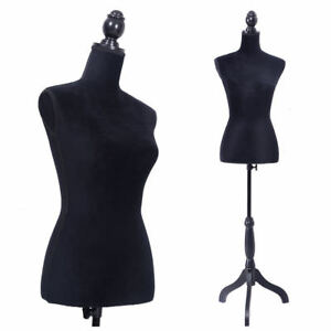 Black Female Mannequin Torso Dress Form Display For Jewelry W Tripod Stand Us
