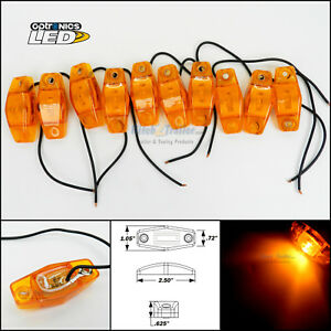 10 Optronics Amber Led Light Clearance Marker Trailer Truck Surface Mt 1 Wire