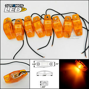 8 Optronics Amber Led Light Clearance Marker Trailer Truck Surface Mt 1 Wire