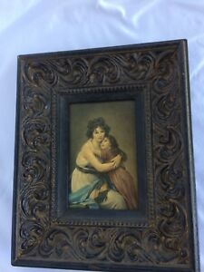 Vintage Mother Child Picture With Wooden Frame