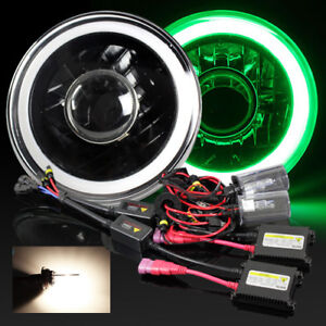 7 Round H6024 Black Housing 3d Blue Smd Halo Projector Headlight 4300k Hid Kit
