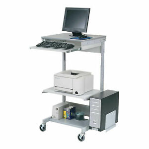 Mobile Computer Workstation With Keyboard Printer Shelf And Cpu Holder Gray