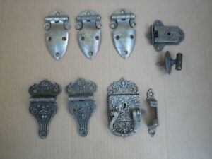 Antique Ice Box Hinges Latch Set Ornate Nickeled Brass Chest Original Hardware