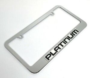Ford Platinum License Plate Frame premium Chrome Emblem Black Letters