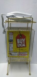 Mid Century Metal Wire Mesh Vintage Telephone Yellow Pages Magazines Stand