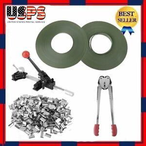 Strapping Tool Complete Kit Metal Seals Poly Strap Banding Roll Supply Set B