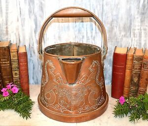 Antique Large English Copper Heraldic Crest Water Can Jug Pitcher Coat Of Arms