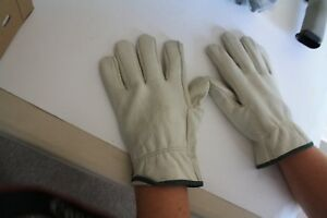 12 Pip Cowhide Leather Work Gloves Size Medium