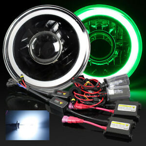 7 Round Par56 Black Housing Green 3d Smd Halo Projector Headlight 8000k Hid Kit