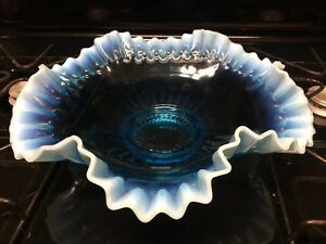 Antique Victorian Blue Opalescent Crimped Ruffled Edge Glass Brides Basket Bowl