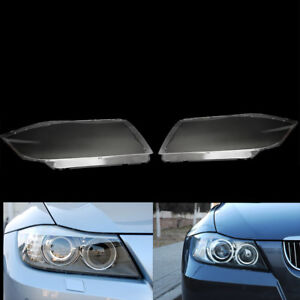 Pair Front Clear Hid Headlight Headlamp Lens Cover For Bmw 3 Series E90 05 12