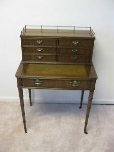 Sligh Lowry Bamboo Look English Mahogany Writing Desk With Gallery