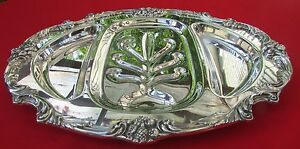 King Francis Pattern 16 1 2 Divided Juice Meat Tray By Reed Barton Silverplate