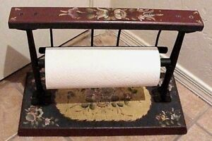 Antique Tole Painted Cast Iron Wood Country Store Paper Cutter Towel Holder