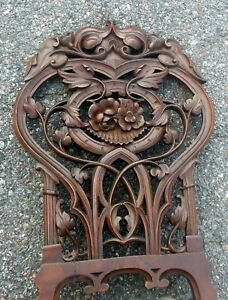 Amazing Antique Carved Chair Art Nouveau Botanicals Poppies Cabriole Legs