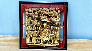Antique 19c Chinese Wood Gilt Lacquered Pierced Relief Birds Trees Temple Panel