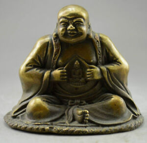 Vintage Excellent Archaic Decorated Old Copper Buddha Statue