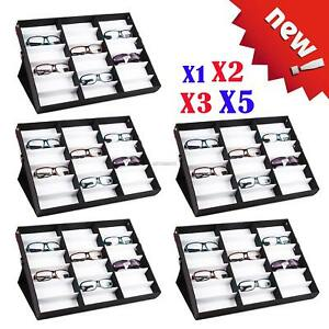 5x 10 18 Grid Large Storage Display Case Box For Eyeglass Sunglass Glasses Black
