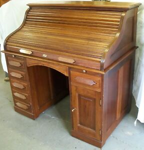 Restored Refinished Antique Solid Walnut Roll Top Desk W S Roll Tambour Top