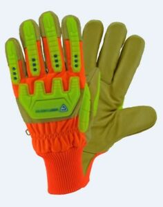 Large High visibility Grain Pigskin Leather Palm Posi therm Lined Gloves Dozen