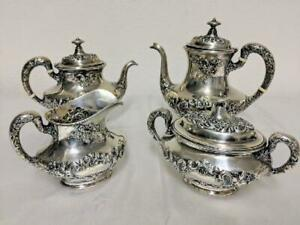 Gorham Sterling Silver 4 Piece Tea Pot Set 1455 8g