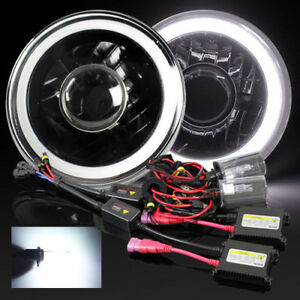 7 Round Hi Power 3d White Smd Halo Black Housing Projector Headlights 6000k Hid