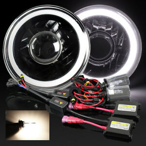 7 Round Par56 Black Housing White 3d Smd Halo Projector Headlight 4300k Hid Kit