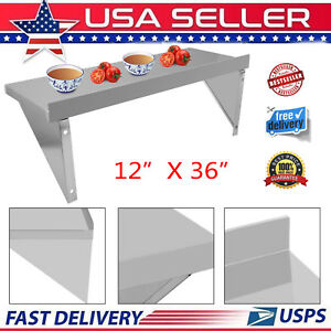 12 x36 stainless Steel Restaurant Bar Cafe Kitchen Floating Wall Mount Shelf