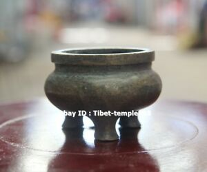7 Cm Tibet Buddhism Pure Bronze Copper Three Legs Round Incense Burners Censer