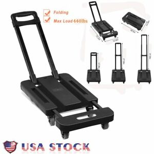 Folding Hand Truck Dolly Push Collapsible Trolley Luggage 440 Lbs 6 Wheels Bt
