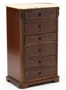 C1900 French Empire Miniature Marble Top 6 Drawer Chest Gilt Metal Ormolu Inlay