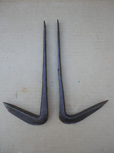 Lot Of 2 Early W T Wood Co Gifford Wood Ice Harvesting Pike Pick Pole Hooks