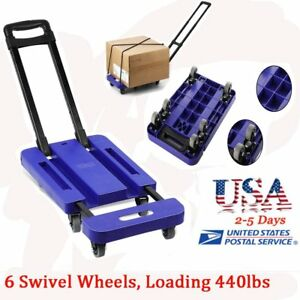 440lb Hand Truck Dolly Collapsible Cart Luggage Trolley Cart 6 Wheels Bt