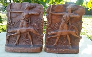 Antique Art Deco Bookends Diana The Huntress Dog Circa 1920s