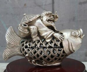26 Cm Chinese Bronze Silver Gilt Old Fisherman Carp Fish Incense Burners Censer