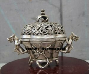 20 Cm Chinese Buddhism Bronze Silver Gilt Dragon Bamboo Incense Burners Censer