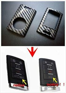 Carbon Fiber Remote Smart Key Shell Frame Snap On Case Holder Cover For Cadillac