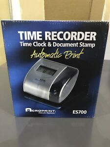 Acroprint Es700 Digital Automatic Time Rec Order Silver And Black acp010182000