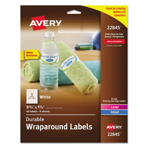 Avery Durable Waterproof Wraparound Water Bottle Labels 1 1 4 X 9 3 4 Inches