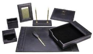 Leather Desk Set Office Supply Paper Tray Letter Opener Pencil Holder Black