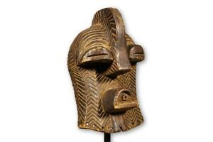 Hand Carved Songye Kifwebe African Mask With Custom Stand 15 Drc