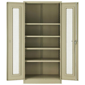 Assembled Storage Cabinet With Expanded Metal Door 36x18x78 Tan Lot Of 1