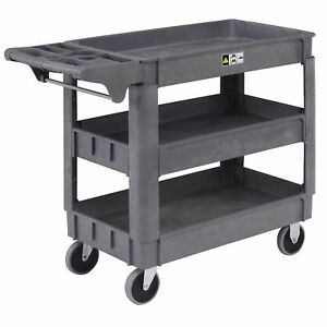 Small Deluxe 3 Shelf Plastic Utility Service Cart 5 Rubber Casters 40 l X