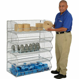 Stackable Wire Storage Rack Removable Bins 48x20x45 Lot Of 1