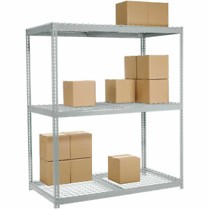 Wide Span Rack With 3 Shelves Wire Deck 1100 Lb Capacity Per Level 96 w X 48 d