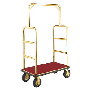 Gold Stainless Steel Bellman Cart Straight Uprights 8 Pneumatic Casters