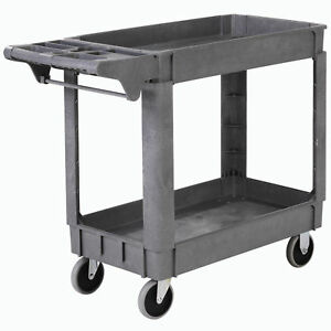 Deluxe Small 2 Shelf Plastic Utility Service Cart 5 Rubber Casters 40 l X