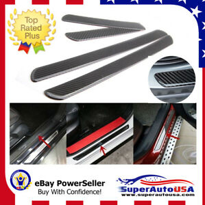 4 Pcs Car Scuff Plate Door Sill Panel Step Protector Cover Kit Carbon Fiber Look