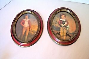 Vintage Action Oval Picture Plastic Frames Wall Decor Boy Dog Italy Lot 2