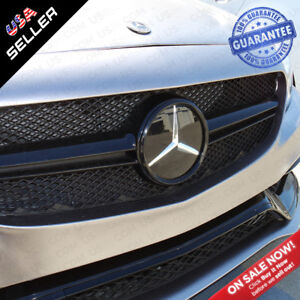 Mercedes Black Plate Front Grill Emblem W205 Modified Upgrade Amg Crystal Style
